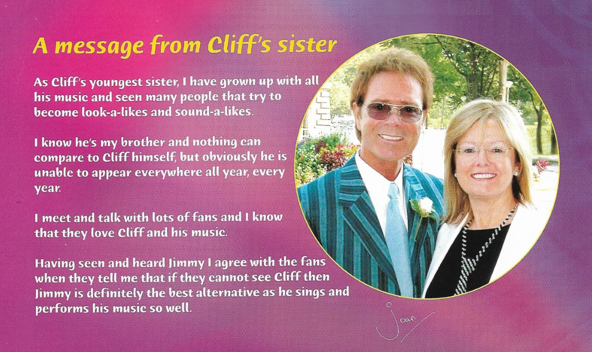 Message from Cliff Richards Sister